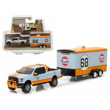 "2015 Ford F-150 Pickup Truck #68 ""Gulf Oil"" and Enclosed Car Hauler Hitch & Tow Series 7 1/64 Diecast Car Model by Greenlight"