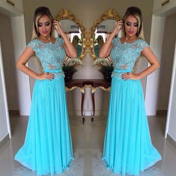 Short Sleeve Blue Applique Prom Dresses