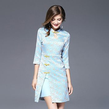 Women Jacquard Dress Light Blue Color Chinese Style Dress Improved Cheongsam Sweet Ladies Clothes ssd028