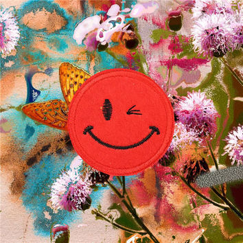 Smile face Embroidered Iron-On Patches sew on patches