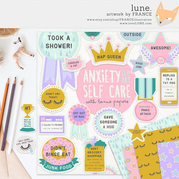 3 FOR 2. Anxiety / Depression Self Care Award Digital Clipart Stickers. Tumblr Aesthetic. Humorous Achievement Planner Scrapbook Papers.