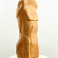 Vintage Modern Wooden Nude Male Torso Sculpture / Modernist Abstract Carved Wood Art Statue