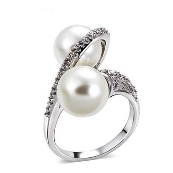 CREYD5W Shell pearl micro inlaid zircon ring simple personality fashion ring