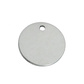 """DoreenBeads Stainless Steel Blank Stamping Tags Charms Pendants Round Silver Tone 15mm( 5/8"""") Dia,20 PCs 2016 new"""