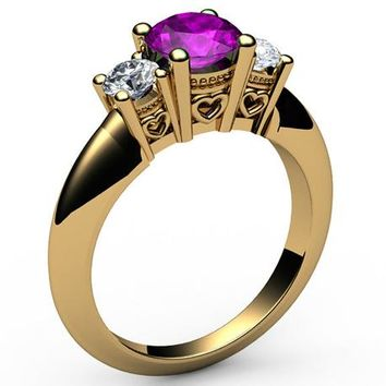 3 stone Filigree Amethyst Heart Engagement Ring 14K Yellow gold Heart Milgrain Ring Promise Ring for Your Love One