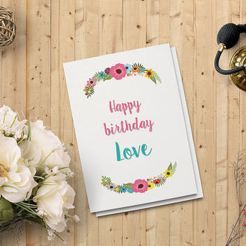 "Birthday Card - Printable Instant download PDF - Floral Greeting Card - 5"" x 7"" Digital Downloadable Card"