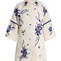 Floral-embroidered linen coat | Andrew Gn | MATCHESFASHION.COM UK