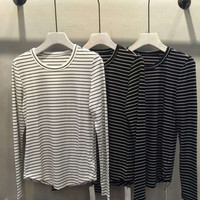 Round-neck Stripes Long Sleeve T-shirts Tops Bottoming Shirt [8915321158]