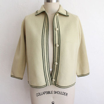 Vintage 50s Chartreuse & Olive Green Wool Collared Cardigan Sweater