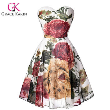 Grace Karin High Quality Pattern Floral Short Bridesmaid Dresses Chiffon Sweetheart vestidos de dama Sexy Party Gown GK0032