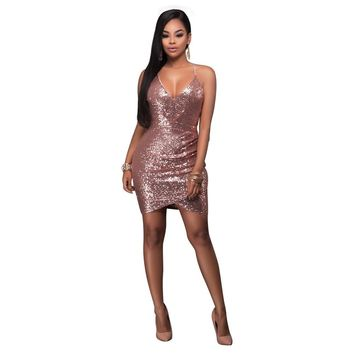Spaghetti Straps Backless Bodycon Sequins Short Dress