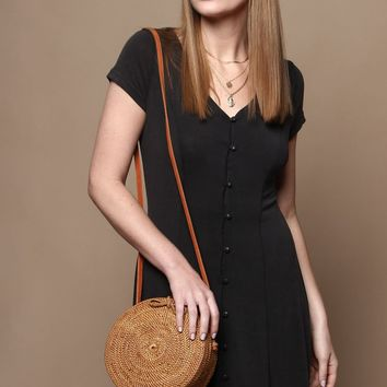 Button Down Jersey Dress - Washed Black