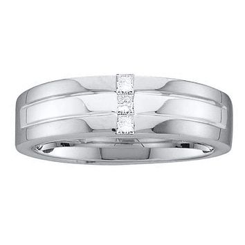 14kt White Gold Men's Princess Channel-set Diamond Single Row Wedding Band Ring 1/6 Cttw - FREE Shipping (US/CAN)