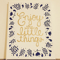 Enjoy the Little Things Quote Canvas, White, Gold, & Navy Canvas, 8x10 in. Canvas