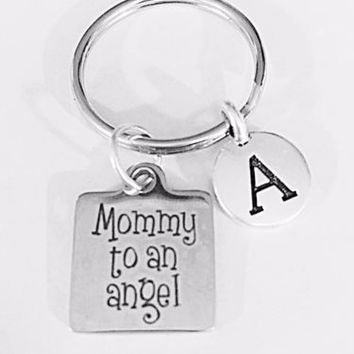 Initial Mommy To An Angel Child In Memory Remembrance Sympathy Gift Keychain