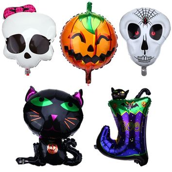 Halloween Balloons Pumpkin Skull Banners Ghost House Aluminum Film Balloons Decor Halloween Festival Party Supplies