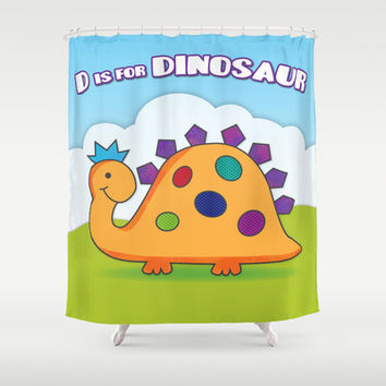 D is for DINOSAUR Children's Art Shower Curtain by Noonday Design | Society6