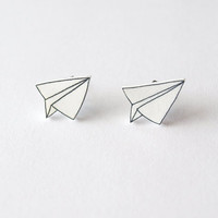 Paper Plane Stud Earrings  Made To Order by rareindeed on Etsy