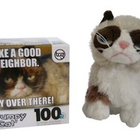 "Ganz Grumpy Cat Gift Set: 5"" Grumpy Cat Sitting and Like a Good Neighbor 100 Piece Puzzle"