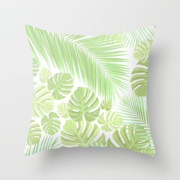 Pastel colors jungle Throw Pillow by exobiology