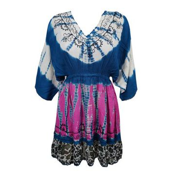 Mogul Womens Blue Pink Mini Dress Tie Dye Summer Fashion Rayon Bohemian Dresses - Walmart.com