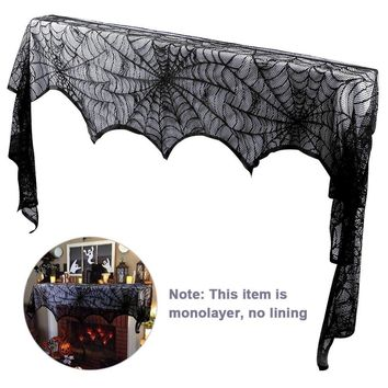 Halloween Black Lace Spiderweb Fireplace/Mantle Cover