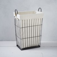 Linen Lined Wire Hamper, Rectangle