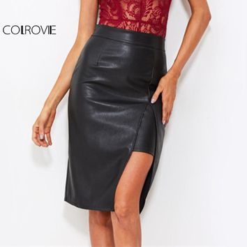 COLROVIE Faux Leather Sexy Slit Pencil Skirt Black High Waist Women Elegant Work Winter Skirts 2017 Fashion PU Plain Midi Skirt