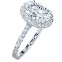 Engagement Ring - Cathedral Oval Diamond Ring with a Diamond Frame, 1.32 tcw in White Gold - ES433OVWG