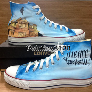 Pierce the Veil shoes,Custom converse,Hand-painted shoes,Hand paint on converse