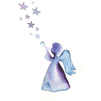 Original watercolor Christmas Card - Angel