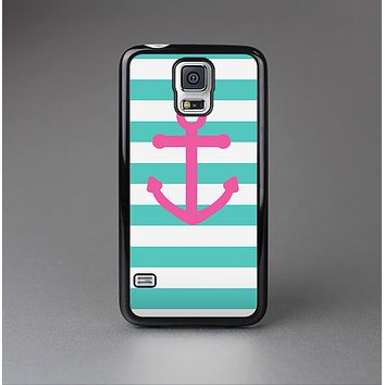 The Teal Striped Pink Anchor Skin-Sert Case for the Samsung Galaxy S5