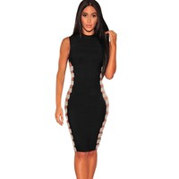 Sexy side sequined sleeveless Club slim Dress
