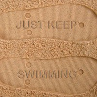 Just Keep Swimming Custom Sand Imprint Flip Flops