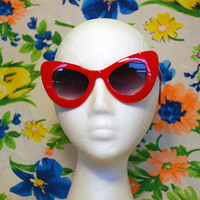 Oversized Round Cateye Sunglasses Vintage Red Cateye Frames 80s 90s Retro Glasses - Alexa