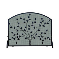 Spreading Leaf Wrought Iron Fireplace Mesh Screen