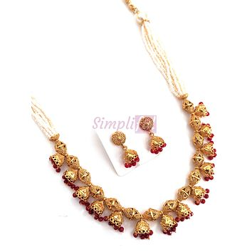 Multiple jhumka hanging white seed bead chain Necklace and Jhumka Earring set