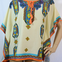 Double Zero Peachpuff Collection- Bohemian Print Kaftan Top - Custard