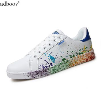girls brand white shoes mix colors ink painting style woman shoes colorful white ladie
