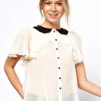 ASOS | ASOS Blouse With Contrast Ruffle Collar And Ruffle Cape at ASOS
