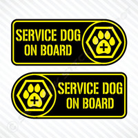 Service Dog On Board Die Cut Sticker Set Label Badge Vinyl Decal For Car Truck SUV Van Paw Print Sticker Puppy K9 Sticker