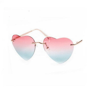 Big Love Shape Reflective Heart Sunglasses Cute Women Sun Glasses Fashion Gradient Eyewear Rimless Oculos Vintage