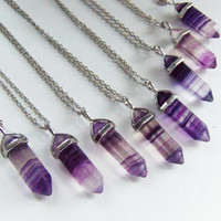 Fluorite crystal necklace, purple crystal necklace, raw fluorite, purple fluorite, fluorite point, custom crystal necklace, flourite crystal