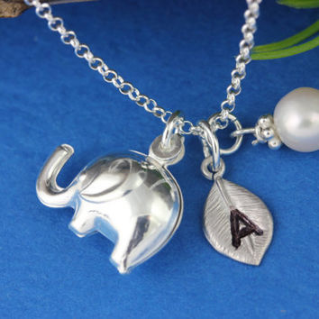 Personalized Elephant Sterling Silver necklace with Pearl or Birthstone - Custom Initial - Good luck necklace