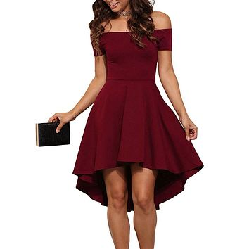 2017 Summer Women Elegant Cocktail Party Dresses Slash Neck Off Shoulder Skater Dress Formal High Low Dresses Vestidos B6305T