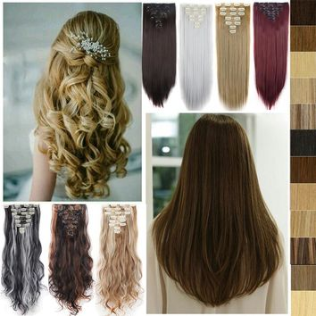 24Inch Full Head Clip in Hair Extensions Long Culry Wave Hair Extensions 8Piece 140-145g