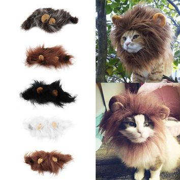 Funny Pet Cat Dog Wig Emulation Lion Hair Mane Ears Head Cap Autumn Winter Dress Up Costume Muffler Scarf
