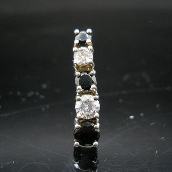 Sterling Silver Stacked CZ Pendant Black White Stones In 925