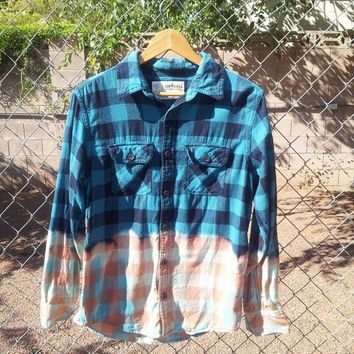 Blue Flannel Plaid Bleached Button Up Shirt Size M/L
