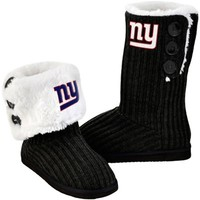 New York Giants Women's Knit High-End Button Boot Slippers